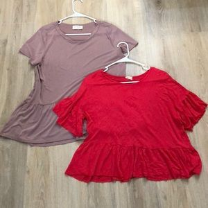 Tops - RUFFLE TOPS LAVENDER AND HOT PINK